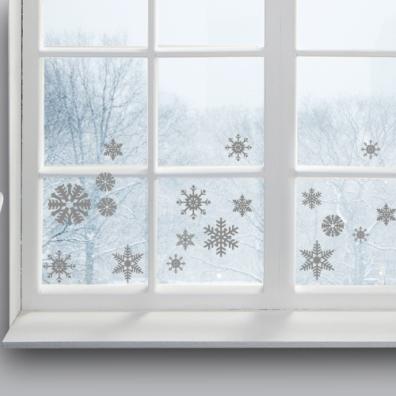 Flocons argentés - Décorations électrostatiques pour vitres : http://www.wallsweethome.fr/fr/stickers-muraux/stickers-fetes/stickers-electrostatiques-flocons-argent/