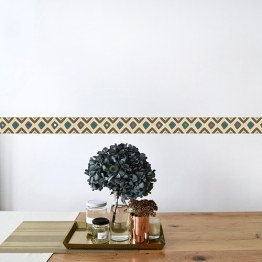 Décoration murale ethnique chic avec frise adhésive tendance wax des tissus africain