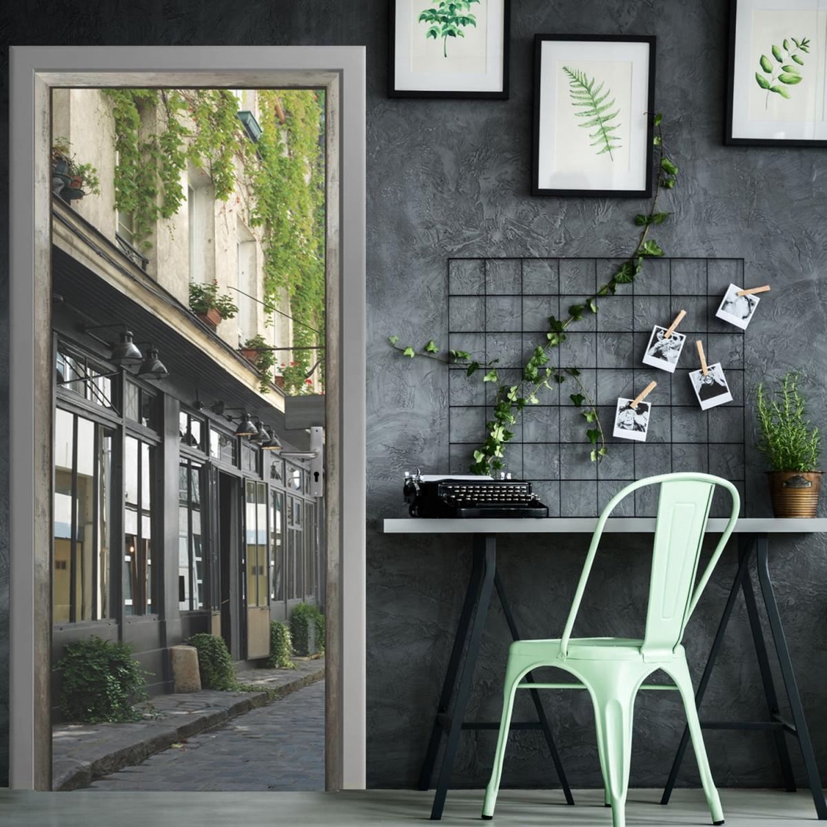 Trompe-l'oeil pour porte jolie rue pavée dans une intérieur industriel chic
