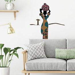 Décoration Scandinave et touche ethnique avec sticker silhouette africaine et tissus wax