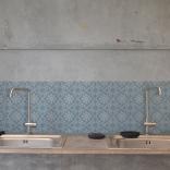Carreaux de ciment en trompe-l'oeil - carreaux de ciment adhésif bleu