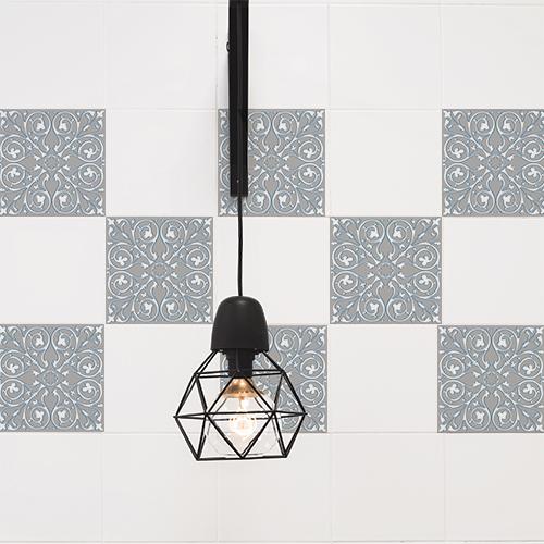 Carreaux de ciment adhésif pour décoration murale de carrelage de cuisine ou salle de bain.