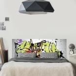 Décoration de la chambre avec une tête de lit de graffiti en trompe-l'oeil : ambiance street art