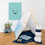 Décoration de chambre d'enfat avec poster adhésif smiley de type émoji clin d'oeil bleu